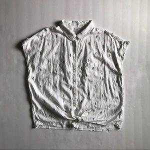 Old Navy Tie Hem Button Up Shirt
